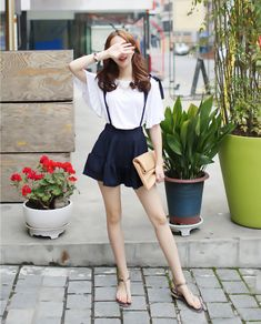ruffle trim shirt with suspender shorts - Yesstyle Absolutely love this style, works perfectly for spring :)