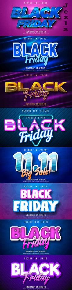 Editable font effect text collection illustration design 219 - Black Friday Text Effects, Vector Stock, Cartoon Styles, Black Friday, Illustration, Fonts, Graphics, Collection, Design
