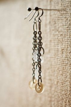 White and Cream Colored Button Earrings with Gunmetal Chains- New Photos by Andrew Young