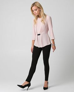 Crêpe de Chine Crew Neck Blouse - A flattering peplum hem lends feminine flair to a crêpe de Chine blouse detailed with a gleaming metal trim at the waist.