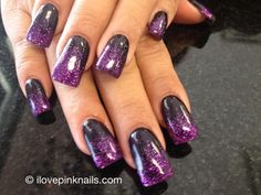 Black and Purple Rock Star Fade Nails