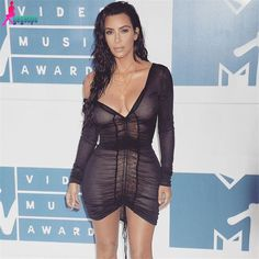 Deep V-Neck Party Dresses Bodycon Sexy Mesh Dress