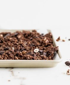 This rich, chunky chocolate hazelnut granola with dark chocolate chunks, toasty hazelnuts and big, crunchy clusters is a deliciously indulgent and healthy breakfast treat or snack made with nutritious ingredients and no refined sugar. Lemon Desserts, Great Desserts, Healthy Dessert Recipes, Whole Food Recipes, Brunch Recipes, Dessert Ideas, Free Recipes, Keto Recipes, Healthy Snacks