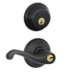 View the Schlage FB50NV-FLA Flair Keyed Entry Leverset and Deadbolt Combo from the FB-Series at Handlesets.com.