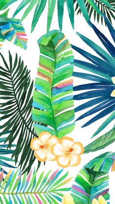 #Tropical floral plant vibes iphone wallpaper or background #watercolor #green
