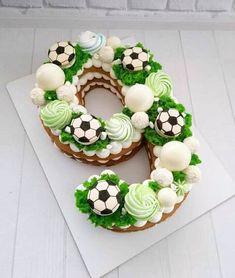 Football Birthday Cake, Number Birthday Cakes, Baby Birthday Cakes, Number Cakes, Pretty Cakes, Cute Cakes, Bolo Fondant, Alphabet Cake, Cake Lettering