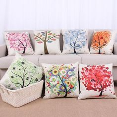 Colorful Life Tree Pattern Painting Cushion Cover