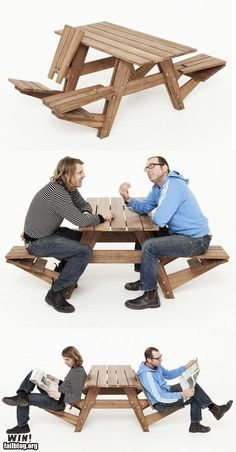 picnic table converts to lounge chairs