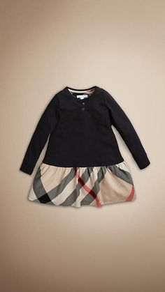 Burberry - Robe en coton à détail en check
