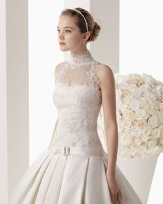 Rosa Clara - 2014 Bridal Collection - 166 / MIREIA Mikado and lace dress with beading in a natural colour.  766 - Lace and tulle jacket in a natural colour.  71T89 - Tulipán mother of pearl tiara, natural colour.