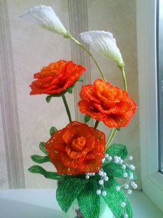 French Beaded Roses and Lilies