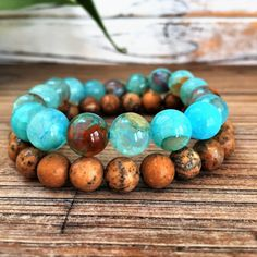 Blue Haze Fire Agate, Blue Agate Bracelet, Beaded Bracelet Set, Stacking  Bracelets,