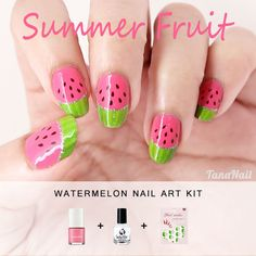 Summer Fruit Nail Art, Kawaii Watermelon Nails, Japanese Nail Art, DIY Kit, Eco Friendly Nail Polish, Nail Decorations (K001). $16.50, via Etsy.