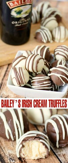 Bailey's Irish Cream Truffles are a decadent dessert treat perfect for serving at dinner parties and on St. Bailey's Irish Cream Truffles are a decadent dessert treat perfect for serving at dinner parties and on St. Desserts Nutella, Delicious Desserts, Yummy Food, Irish Desserts, Healthy Food, Asian Desserts, Healthy Recipes, Baileys Recipes, Irish Recipes