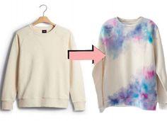 DIY! Tun a white crew neck sweater into a watercolor masterpiece