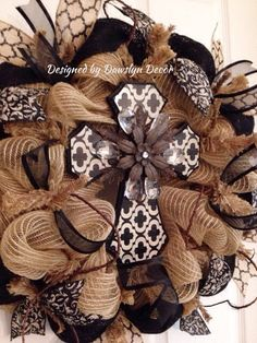 Cross Wreath Fall Wreath Burlap Wreath Deco Mesh by DawslynDecor