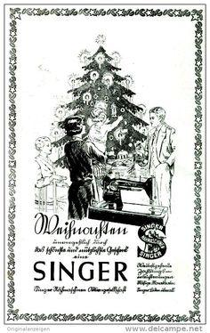 Original-Werbung/ Anzeige 1929 - SINGER NÄHMASCHINEN / WEIHNACHTEN - ca. 110 x 160 mm