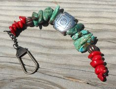 Turquoise Stone and Bamboo Coral Dangle Charm for a Purse, Bag, Belt Loop or Backpack, Handmade OOAK, Ready to Ship - pinned by pin4etsy.com