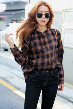 [STYLENANDA] SHOULDER SHIRRED CHECKED HENLEY BLOUSE