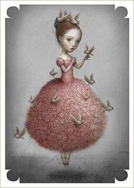 La Marelle `Kaart Nicoletta Ceccoli Meisje met Vogels`