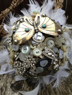 Amazing Gatsby One Vintage Button Brooch by WeddingButtonique, £190.00