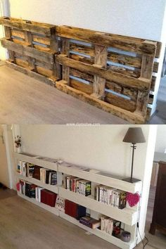Pallet wood can simply be turned into these spacious book shelves in almost no time and cost. As shown in the picture, place the pallets vertically with the wall and nail them . Paint them with the color you like and place your books and other decorative stuff.