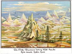 The Misty Mountains Looking West from the Eyre towards Goblin Gate   J.R.R. Tolkien - illustration for The Hobbit