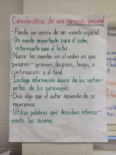 Narrativa personal Narrative Anchor Chart, Personal Narrative Writing, Writing Anchor Charts, Personal Narratives, Classroom Charts, Bilingual Classroom, Bilingual Education, Dual Language Classroom, English Classroom