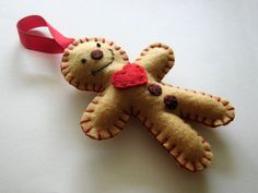 Felt christmas ornaments  gingerbread man by DusiCrafts on Etsy, $6.00