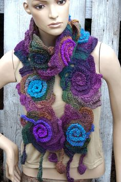 Crochet  Scarf Unique Capelet shadows Roses turquoise green, orange, purple  Neck Warmer  Handmade soft scarf Neck Warmer / Freeform crochet
