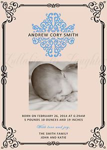 Ornate Damask Classic Simple Elegant Birth Announcement Digital File 5x7 | eBay