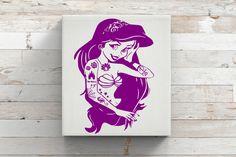 Punk Mermaid-Ariel-Vinyl Car Decal-Disney-The Little Mermaid-Tattoo-Mac-Laptop by KGDESIGNS16 on Etsy