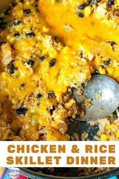 This is an easy go-to dinner recipe to make with what is in your pantry! Chicken, rice, black beans, corn and cheddar cheese make for one tasty family weeknight meal!