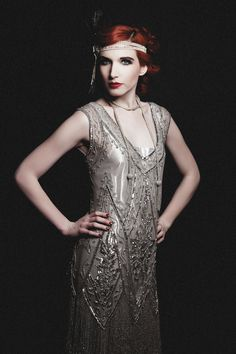 Sadie Century in the Silver Icon Gown with our Silver Gatsby Rope Necklace