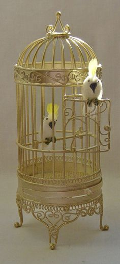 Dolls house miniature Floor Standing Guilded Cage with two feathered Escaping Cockatoo's