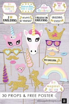 Have fun with these Unicorn Photo Booth Props.  If you are having a Unicorn Party these photobooth props will be a perfect addition. Birthday Photo Booths, Party Photo Booths, Props For Photo Booth, Photo Both Props, Wedding Photo Booth Props, Party Props, Birthday Photos, Party Ideas For Girls, 7th Birthday Party For Girls Themes