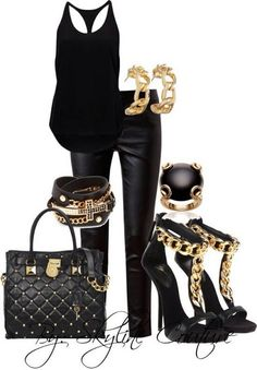 White black shirt, shinning black pants, high heel sandals, black bag and belt for ladies -Follow the pic for more outfits