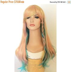 Check out Halloween SALE Pastel colored wig blonde blue yellow pastel long straight  wig on wigglywigs