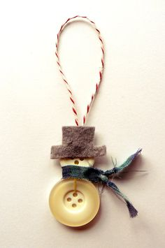 Handmade Button Snowman or Snowwoman Christmas Ornament on Etsy, $6.99