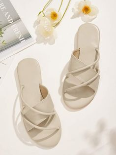 Upper Material: PU Toe: Open Toe Heel Height (cm): 1 cm Style: Comfort Lining: PU Outsole Material: Rubber Pattern Type: Plain Type: Slippers Country: US Color: Apricot Top Shoes, Women's Shoes Sandals, Leather Sandals, Women's Flat Shoes, Sandals Outfit Summer, Open Toe Flats, Fashion Sandals, Pretty Shoes, Designer Shoes