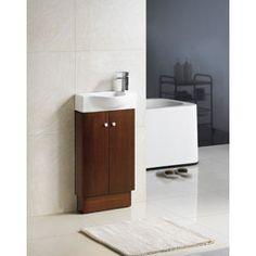 Fine fixtures petite 18 inch wood oak white bathroom - Bathroom vanities 18 inches deep ...
