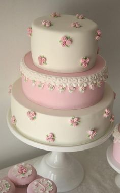 Pink and White Shabby Chic Vintage Baby Shower Cake, Three Tiered Baby Shower Cake Gorgeous Cakes, Pretty Cakes, Cute Cakes, Amazing Cakes, Sweet Cakes, Fondant Cakes, Cupcake Cakes, Simple Fondant Cake, Gateaux Cake