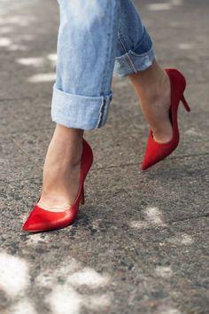 + red stilettos