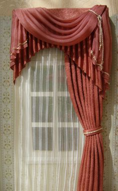 1//12 dolls house Miniature Pink Check Curtains /& Rail Bedroom Kitchen Drapes LGW