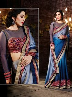 Blue Shaded Designer Party Wear Saree