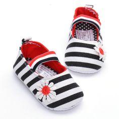 1 пара из довольно младенческая малыш принцесса soft единственным обувь холст цветочный полосы обувь купить на AliExpress