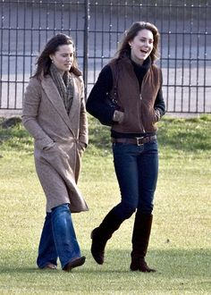 Kate Middleton with her sister Pippa Prince watching Prince William taking part in the Field Game in an old boys match at Eton College, England, March 18, 2006.