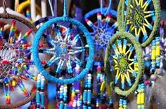 Fluffy variety of dream catchers on artisan market