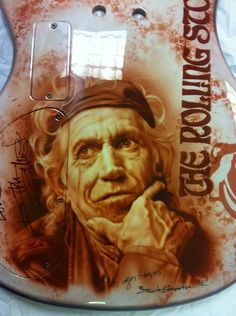 Airbrushed Keith Richards Guitar Art art by Eduardo Bascuñana Perez  The step-by-step is found here: https://www.facebook.com/media/set/?set=a.10152481662835639.1073741911.66137860638&type=1  For more info - http://airbrushaction.com