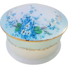Beautiful O.E. & G Royal Austria 1900's Hand Painted 'Forget Me Not' Floral Dresser Box by Pickard Artist, 'Minnie Luken'